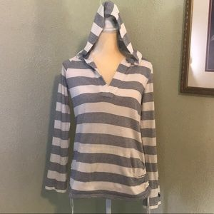 Roxy Navy Striped Hooded Pullover Size M